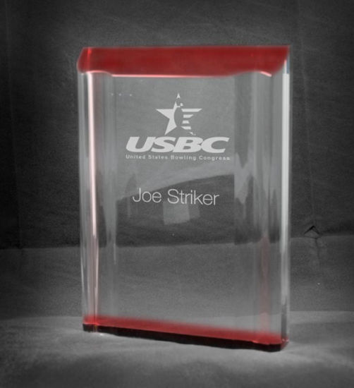 "Picture of Freestanding Red Acrylic Channel Award (4""W x 5""H)"